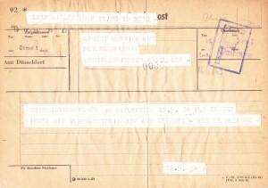 Telegramm an Wurring mit Erfolgsmeldung, AWD Museum